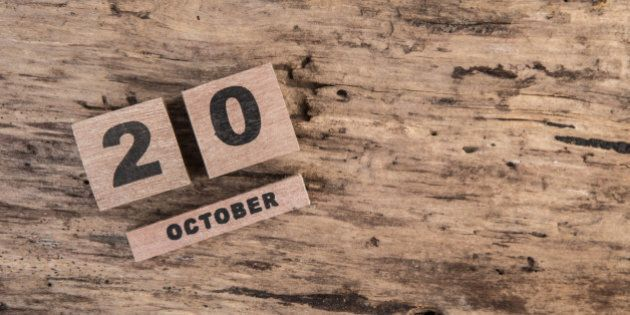 template for october with calendar on wooden