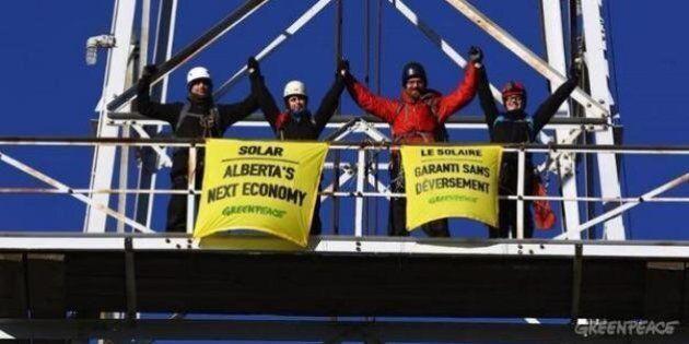 Greenpeace Scales Oil Derrick to Send Solar