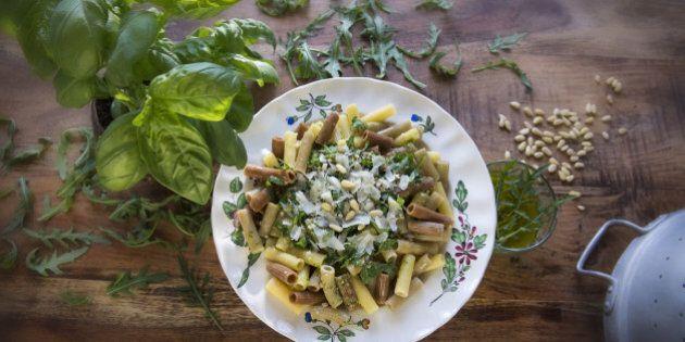 basil, pine nuts, rocket salad, macaroni,