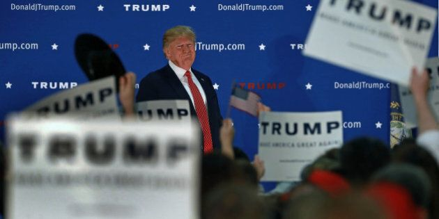 NASHUA, NH - DECEMBER 28:  Republican presidential candidate Donald Trump held a campaign rally at the Pennichuck Middle School in Nashua, New Hampshire on Monday night, Dec. 28, 2015. (Photo by Jim O'Sullivan/The Boston Globe via Getty Images)