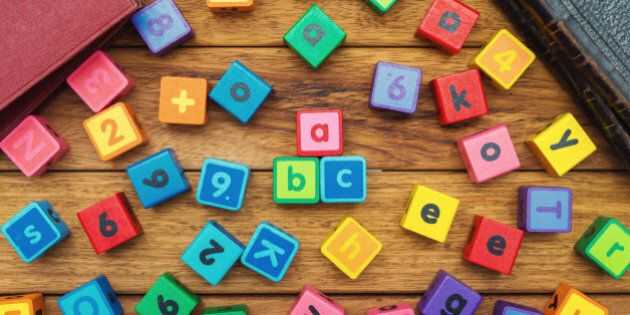Alphabet blocks on the school