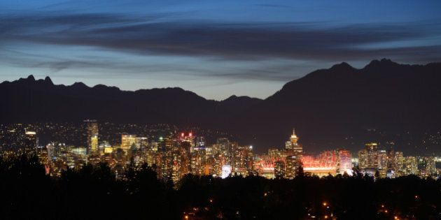 VANCOUVER, BC - JUNE 10: A view of the Vancouver skyline with BC Place Stadium prominent during the FIFA...