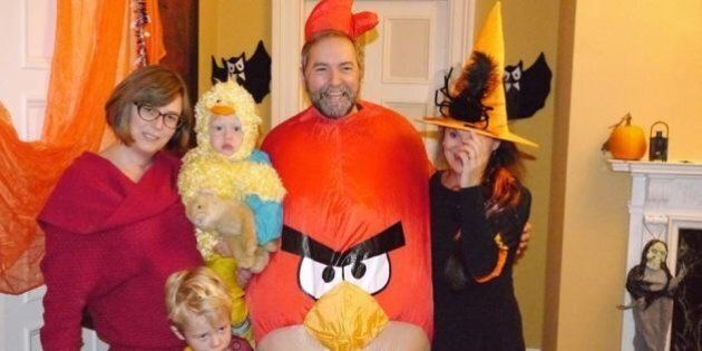 Tom Mulcair's Angry Bird Halloween Costume Stands