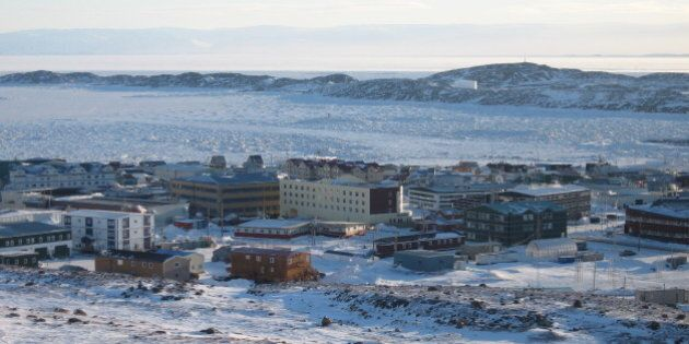 The town of Iqaluit, Nunavut Territory, Canada, about 200 miles (321 kms) south of the Arctic Circle...