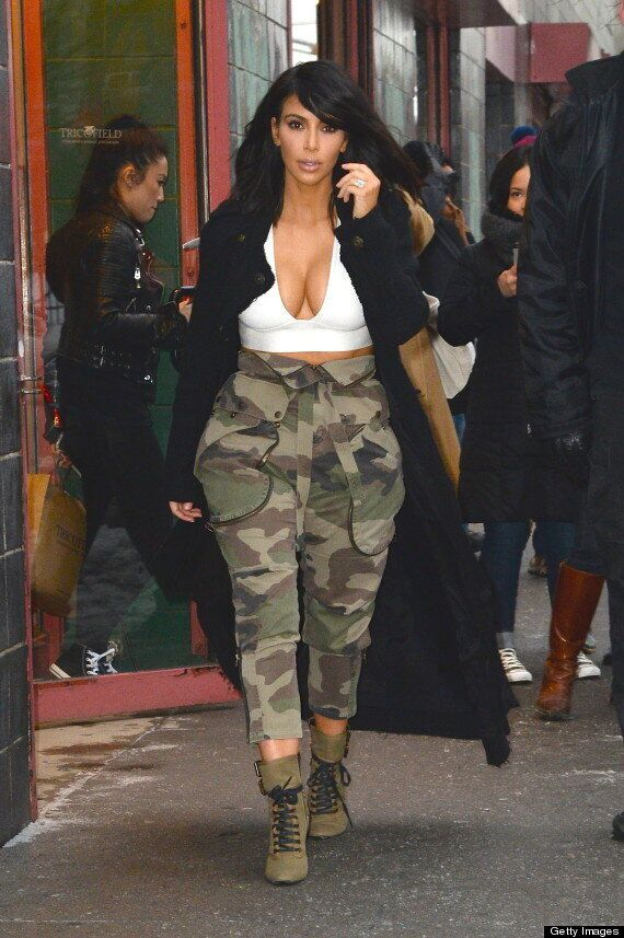 Kim Kardashian Wears Crop Top On A Cold Day In New