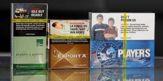 Cigarettes packs are viewed on March 12, 2012 in St. Thomas, Ontario. A trial got underway in Montreal...