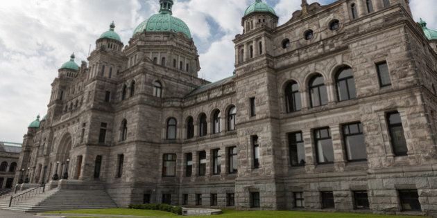 This image shows the exterior of the ornate building that is the home of the Legislative Assembly of...