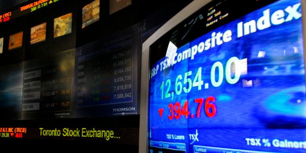 CANADA - AUGUST 16: The Standard & Poor's / TSX Composite Index value is shown during trading hours at...