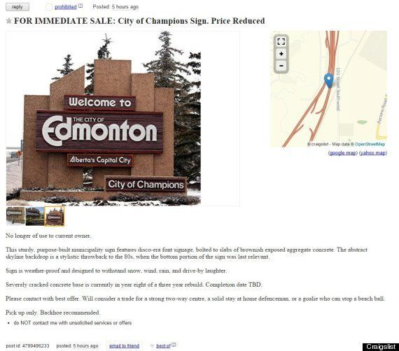 Edmonton's 'City Of Champions' Welcome Signs Put Up For Sale