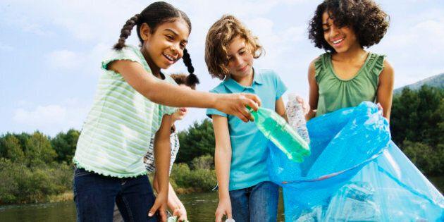 Little Kids Picking up Trash