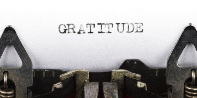 Old typewriter with text gratitude