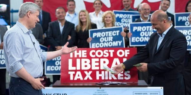 Stephen Harper Attacks Trudeau Liberals Using Props,