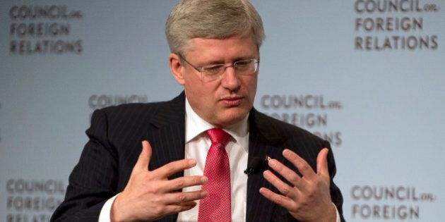 Canada's Prime Minister Stephen Harper speaks May 16, 2013 at the Council of Foreign Relations in New...