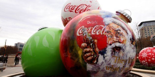 ATLANTA - NOVEMBER 23: Giant Coca-Cola Christmas Bulbs, sits outside the World Of Coca-Cola, in Atlanta,...