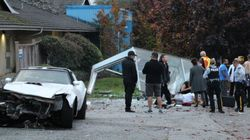 Corvette Crashes Into Surrey Bus Stop, Driver Tries To Flee In