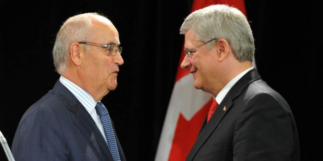 TORONTO, ON - AUGUST 29  - Prime Minister Stephen Harper Thursday announced legislation to toughen child sexploitation laws.  Following his speech, Harper (right) greets Minister of Veteran Affairs, Julian Fantino.He met with ministers and child advocates at the Banbury Community Centre in the York Mills and Leslie area and then made a speech at the International Plaza hotel near the airport.        (Richard Lautens/Toronto Star via Getty Images)