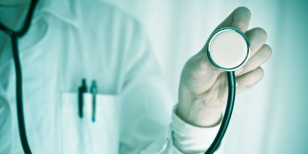 Conceptual image of a female doctor with a