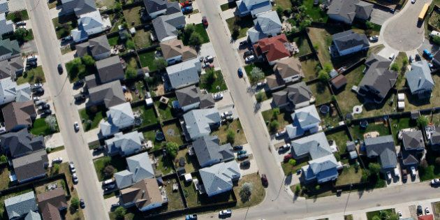 A new housing development stands in this aerial photograph taken near in Fort McMurray, Alberta, Canada,...