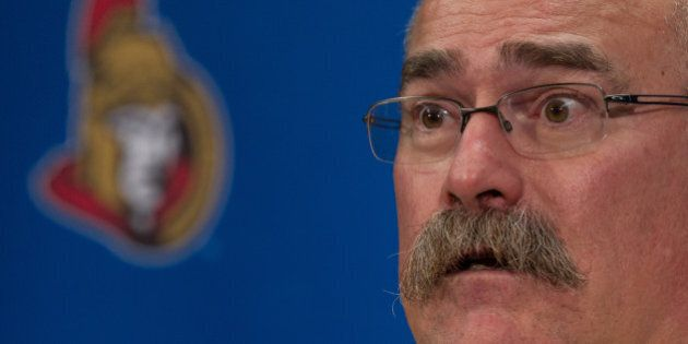 OTTAWA, ON - NOVEMBER 15: Head coach Paul MacLean of the Ottawa Senators talks to the media following...