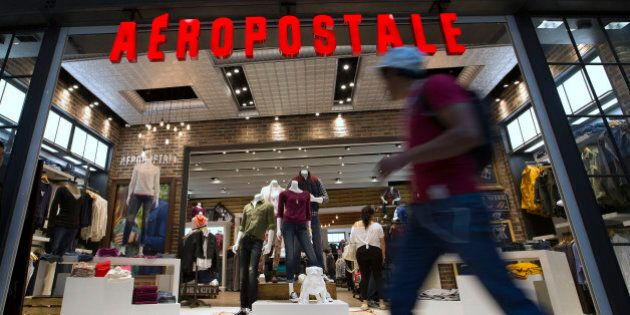 A shopper walks by an Aeropostale Inc. store at the Santa Fe Mall in Mexico City, Mexico, on Friday,...