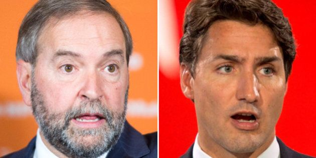 Mulcair Likens Trudeau To Harper During Toronto Campaign