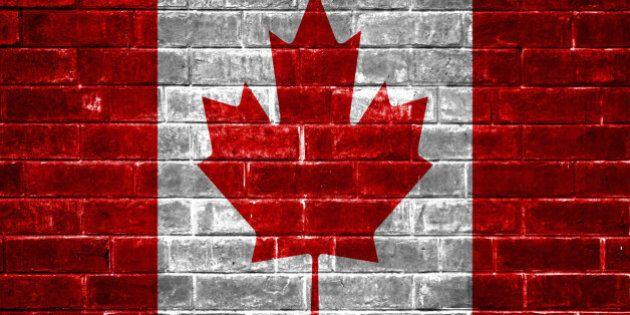 Canada flag brick wall