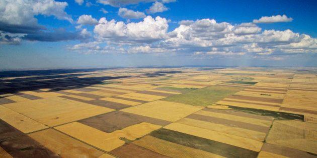 Aerial of farming in saskatchewan,