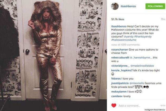 Ashley Benson Promotes A Cecil The Lion Halloween Costume On