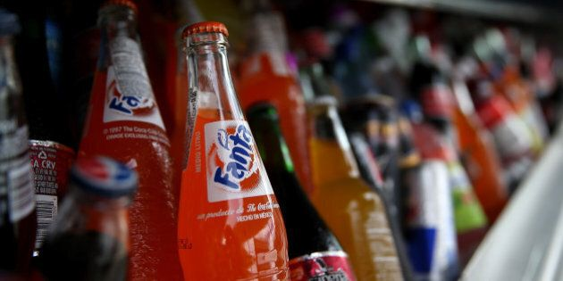 SAN FRANCISCO, CA - JULY 22: Bottles of Fanta are displayed in a food truck's cooler on July 22, 2014...