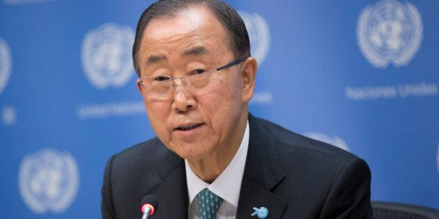 UN, NEW YORK CITY, UNITED STATES - 2015/09/27: Secretary-General Ban Ki-moon during a press briefing...