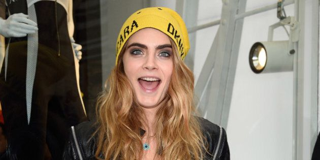 LONDON, ENGLAND - OCTOBER 18: Cara Delevingne attends the launch of the Cara Delevingne DKNY Capsule...