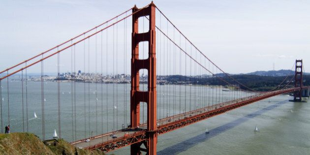 View of the Golden Gate Bridge, with San Francisco in the