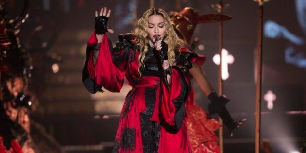 TORONTO, ON - OCTOBER 5: Madonna performs at the Air Canada Centre in Toronto during her Rebel Heart...