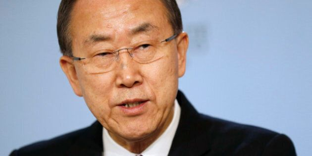 United Nations Secretary General Ban Ki-moon speaks during a press conference at the Ministry of State...