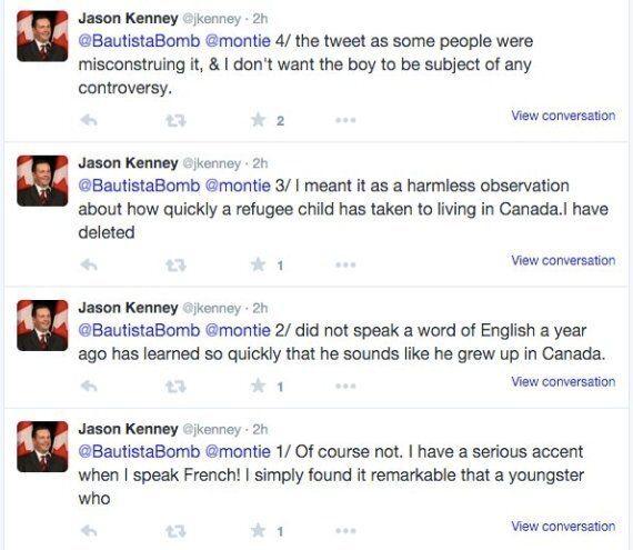 Jason Kenney Deletes Tweet Praising Refugee's 'Perfect, Unaccented