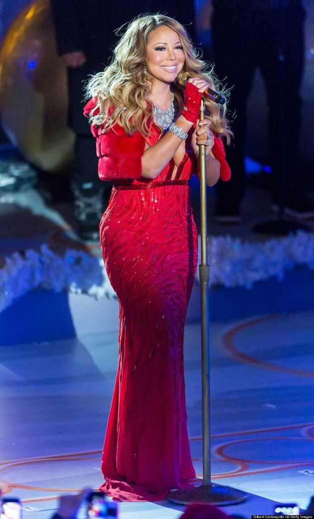Mariah Carey Takes The Plunge In Red Gown At Rockefeller Christmas Tree