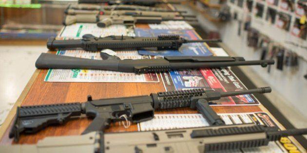 Guns are on display at Roseburg Gun Shop in Roseburg, Oregon, on October 2, 2015. Ten people were confirmed...