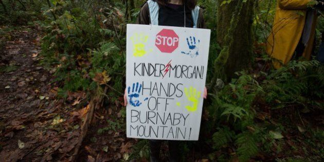 A protester carries a sign on a trail on Burnaby Mountain near where work is being done by Kinder Morgan...