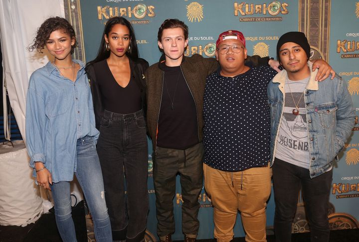 "Zendaya, Laura Harrier, Tom Holland, Jacob Batalon and Tony Revolori promoting ""Spider-Man: Homecoming"" in 2016."