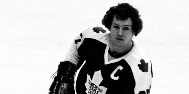BOSTON - 1979: Darryl Sittler #27 of the Toronto Maple Leafs skates against the Boston Bruins at Boston...