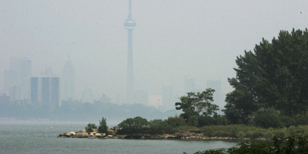 Humber Bay Park East looking east towards the City Core with a Beaver lodgein the foreground and Canada...