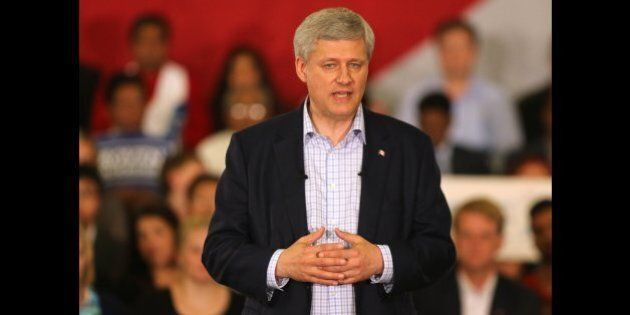 AJAX, ON- AUGUST 3  -  Prime Minister Stephen Harper delivers remarks at the Deer Run Golf Club as his campaign hits the GTA  as he kicks off his election campaign in Ajax. August 3, 2015.        (Steve Russell/Toronto Star via Getty Images)