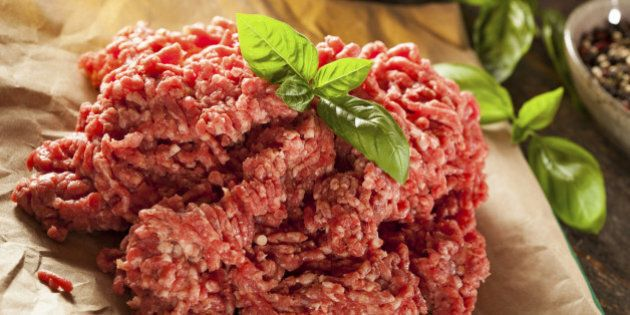Organic Raw Grass Fed Ground Beef on Butcher