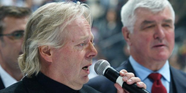 TORONTO, ON - NOVEMBER 11: Actor Michael Burgess sings the Canadian National Anthem prior to the Legends...