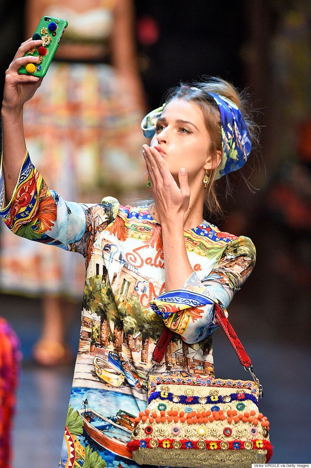 Dolce & Gabbana Bring Selfies To The Runway At Milan Fashion