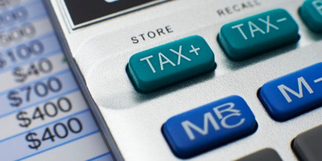 Close-up of Tax button on