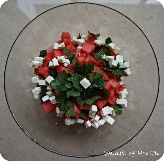 Watermelon, Feta & Mint Salad with Balsamic