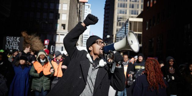 ST. LOUIS, MISSOURI - NOVEMBER 25: Protesters occupy the streets of St. Louis. A St. Louis County grand...