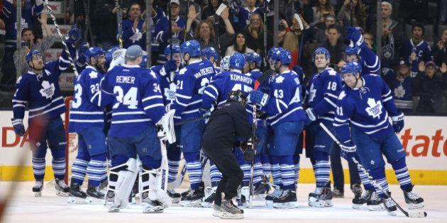 TORONTO, ON- NOVEMBER 22 - Leafs salute the fans after the win in third period action as the Toronto...
