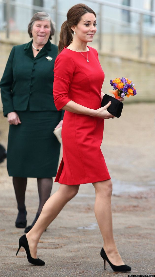 Kate Middleton Looks Stunning In Red Dress And Sleek